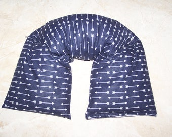 Neck and  Shoulder Wrap  Pillow, Flax seed pillow - Heating Pad Ice Pack Flax seed therapy pillow  in Arrows on Navy