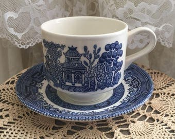Churchill England cup and saucer, blue willow cup and saucer, classic Churchill England, Churchill England china, cup and saucer