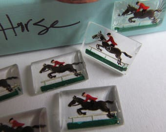 6 Vintage  Jumping Horse  Reversed Painting On Glass -Made In West Germany