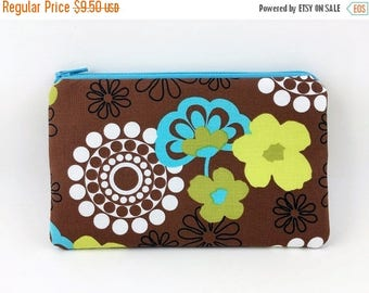 Summer SALE Blue Flower Zipper Pouch, Cell Phone Pouch, Accessory Bag, Padded, Gift idea, Cosmetic Bag, Brown