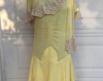 1930s Golden Yellow Flapper Dress Set . Antique Art Deco Dress & Slip Small