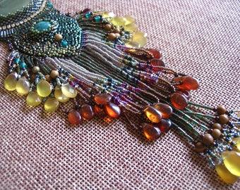 Rainforest Bead Embroidery pendant - Necklace