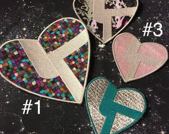 Disco Biscuit Heart Iron on Patch ~ READY TO SHIP