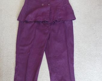 Vintage summer purple linen trouser suit Marco Pecci uk 18, US 14