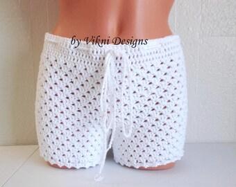 Crochet Shorts, Women Boy Shorts, White shorts by Vikni Designs