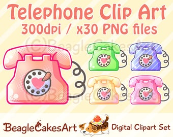 Telephone Clipart. Phone Clipart. Instant Download. Retro Clipart. Cell Phone Clipart. Digital Download. Kawaii Clipart. Cute Printables