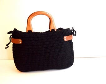 Crocheted tote bag,  Crochet handmade bag , Black knit bag / winter  bag- shoulder bag- crochet bag-Free Shipping Valentines day gift