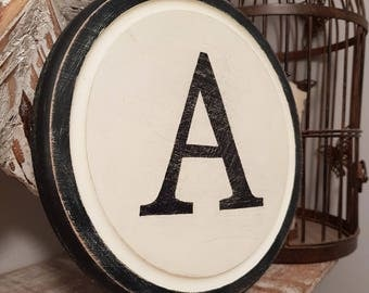 """8"""" Round Letter A Sign, Monogram, Initial, Wall Art, Home Decor, Rustic Letters, All letters available, inc ampersand"""