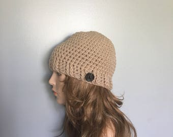 SALE Crochet Beanie - BEIGE