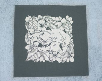Giant Flying Squirrel Skull and Cherry Blossom Charcoal Sew On Punk Patch