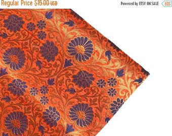 15% off on One yard of Peach with blue and Gold  Indian brocade fabric/costume fabric/Indian Sari fabric/costume,dress fabric/home accents f