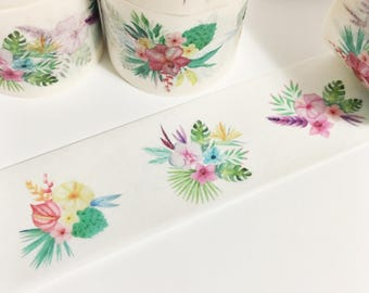 Bright Colorful Tropical Floral Colorful Flowers Washi Tape 11 yards 10 meters 30mm