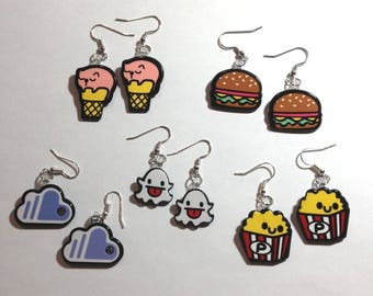Decoden cabochon resin graffiti style earrings ghost cloud cat popcorn hamburger fun jewelry