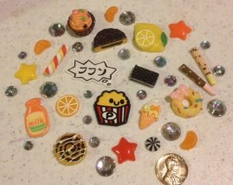 Disturbing Popcorn Decoden kit collection red and yellow tones rainbow rhinestones kawaii phone case decoration