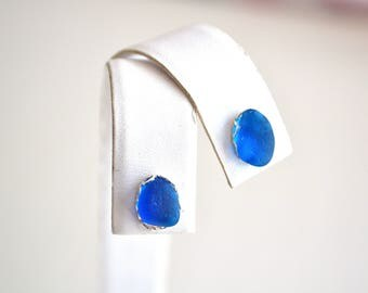 Bright Blue Rare Genuine Sea Glass Post or Stud Earrings in Sterling Silver Mounts