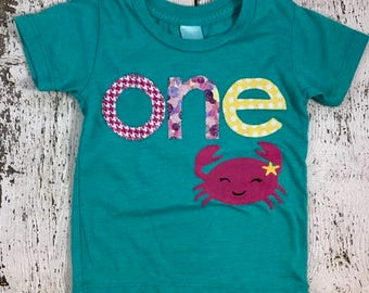 crab shirt, nautical party, girls birthday shirt, cute crab, crab decor, first birthday shirt, first birthday outfit, one shirt, girl crab