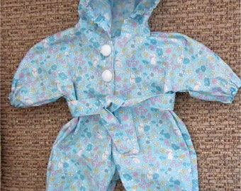 Blue Pink White Baby Boy Or Girl Doll Hooded Bunny Print Jumpsuit  Fits Bitty Baby, Bitty Twin or Other 15 Inch Baby Doll