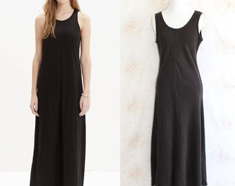 Vintage 90s Eileen Fisher Dress, 1990s Linen Tank Dress, Maxi, Sleeveless, Black, Minimalist