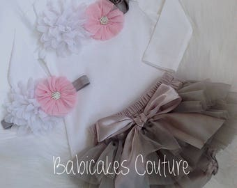 Baby Girl Tutu Outfit, Newborn Girl Outfit, Pink and Gray Baby Outfit, Newborn Photo Outfit, Newborn Girl Photo Outfit, Fancy Baby Outfit