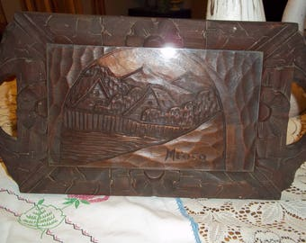 Vintage Mexico tray, carved wood Mexican folk art primitive glass top 19 x 10