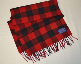 Pendleton® Scarf - red and black Buffalo Plaid Check soft merino wool scarf Pendleton® Wool Scarf plaid for fall mens or womens accessories