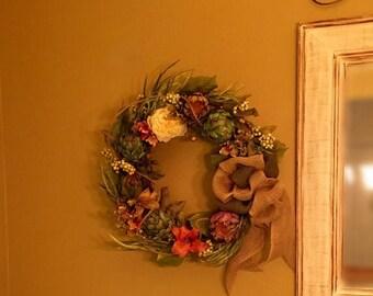 ON SALE 50% OFF Artichoke Wreath Silk Floral Wreath Artichoke Flower Lily Berry Peony Hydrangea Wreath Silk Floral Arrangement Rustic Wreath