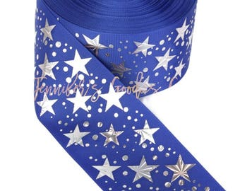 "3"", Royal Blue Stars Ribbon, Hologram Stars, July 4th Ribbon, Patriotic Ribbon, Cheer Bow Ribbon, DIY Cheer Bows, Wholesale Ribbon, PER YARD"
