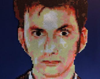 Doctor Who #10 | Doctor Who Fan Art | David Tennant | Tenth Doctor | 24x24 Canvas | Geek Craft | Perler Bead Portrait | British Television