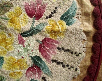 Traditional Hooked Rug Canvas, Unfinished, To Finish, Wool Strips, Round