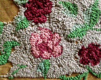 Traditional Hooked Rug Canvas, Unfinished, To Finish, Flowers, Butterflies