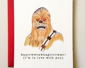 Chewbacca Valentineu0027s Day Card   Star Wars Valentine   Funny Valentine    Handmade   Valentine Humor