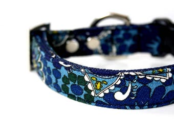 Floral abstract Dog Collar - Blue