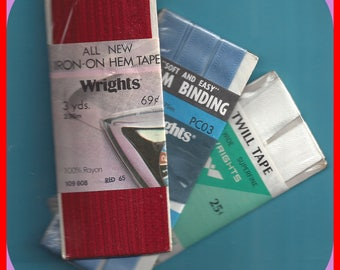 Vintage Seam Binding twill Tape Hem Tape 1960's to 1980's 3 Pkg Red White Blue