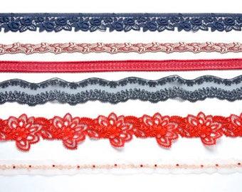 "Red, Navy Blue, Lace Trim Grab Bag, Small Floral Trim,  12"" Dolls Trim, Decorative Trim, Embroidered Trim"