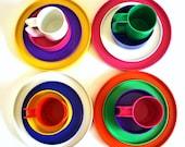 Heller Dish Set Massimo Vignelli Melamine Dinner Plates, Luncheon Plates, Cereal Bowls, Mugs