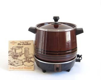 SALE West Bend Lazy Day Slow Cooker 5225 Brown Round (as-is)