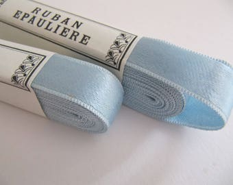Vintage blue satin lingerie ribbon from Belgium, 10 meters blue ribbon, 1/2 inch wide, 15 mm, unused dress maker's ribbons, old store stock