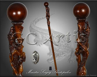 CROCODILE ALLIGATOR CAYMAN solid wood walking stick cane handcarved crafted authors made top art