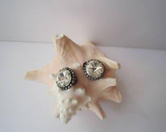 Vintage Clip-On Earrings with Rhinestones