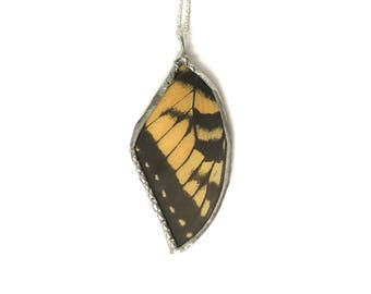 Real Yellow Swallowtail Butterfly Wing Necklace