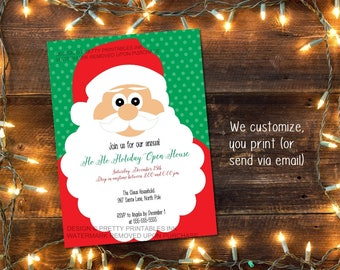 Printable Christmas Party invitation / Holiday open house invitation / Holiday party invitation/ Santa party invite / Kids Christmas party