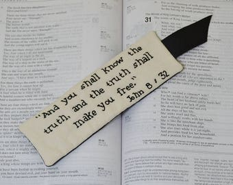 Christian Bookmark - Bible Verse Book Accessory - Scripture You Shall Know the Truth - John 8 - Religious Hand Embroidery - Black Floral