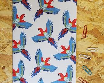 Parrot  Notebook - A5 notebook -notebook - bird notebook - patterned notebook - blank notebook - travel notebook - cute - stocking filler