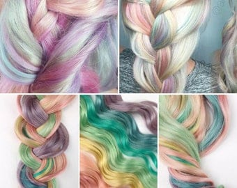 Rainbow Pastel Clip in Hair Extensions, Pink Hair, Hair Weave, Wide Tracks, Ombre Hair Extensions, Pastel Rainbow Hair, Festival Hair
