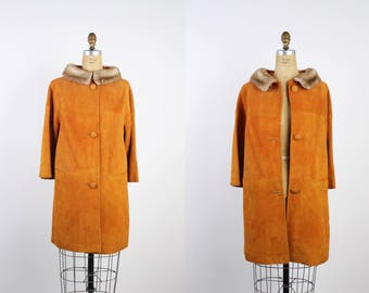 60s Copper Suede Fur Collar Coat /  Fur Trimmed Coat / Vintage Coat / 1960 Coat / 50s Winter Coat / Mink Collar Coat / 1950s Jacket Size S/M