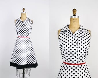 80s Cotton Polka Dot Dress / Black and White Dress / Day Dress /Summer Dress / Polka Dots / Fit and flare Dress/ Size S/M