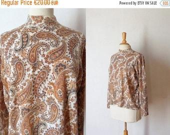 50%DISCOUNT 60s white brown kaki paisley printed knit sweater L