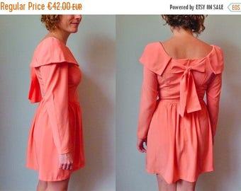 50%DISCOUNT 90s salmon bow back princess mini dress S
