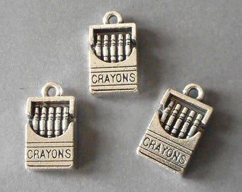 8pcs-silver Crayons charm- antique silver children charm