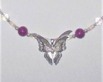 OOAK--Butterfly necklace in Purple and Clear Faceted Glass